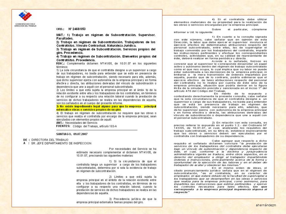 Un dictamen para aclarar las dudas El 9 de julio de 2007, en plena movilización de los trabajadores subcontratados de Codelco, la Dirección del Trabajo, cuyo superior directo es el Subsecretario, emite el dictamen 2468/053.