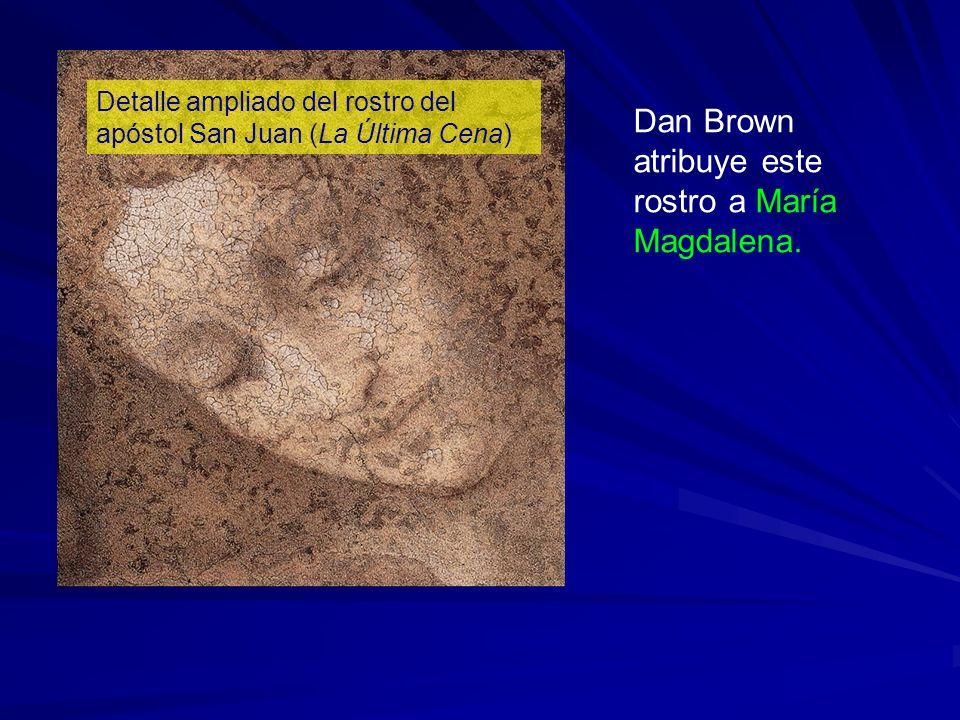 Detalle ampliado del rostro del apóstol San Juan (La Última Cena) Dan Brown atribuye este rostro a María Magdalena.