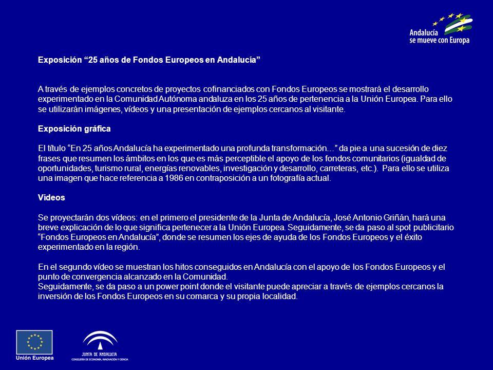 Exposición 25 años de Fondos Europeos en Andalucía A través de ejemplos concretos de proyectos cofinanciados con Fondos Europeos se mostrará el desarrollo experimentado en la Comunidad Autónoma andaluza en los 25 años de pertenencia a la Unión Europea.