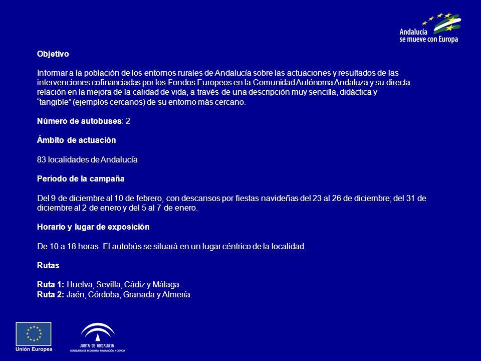 Objetivo Informar a la población de los entornos rurales de Andalucía sobre las actuaciones y resultados de las intervenciones cofinanciadas por los F