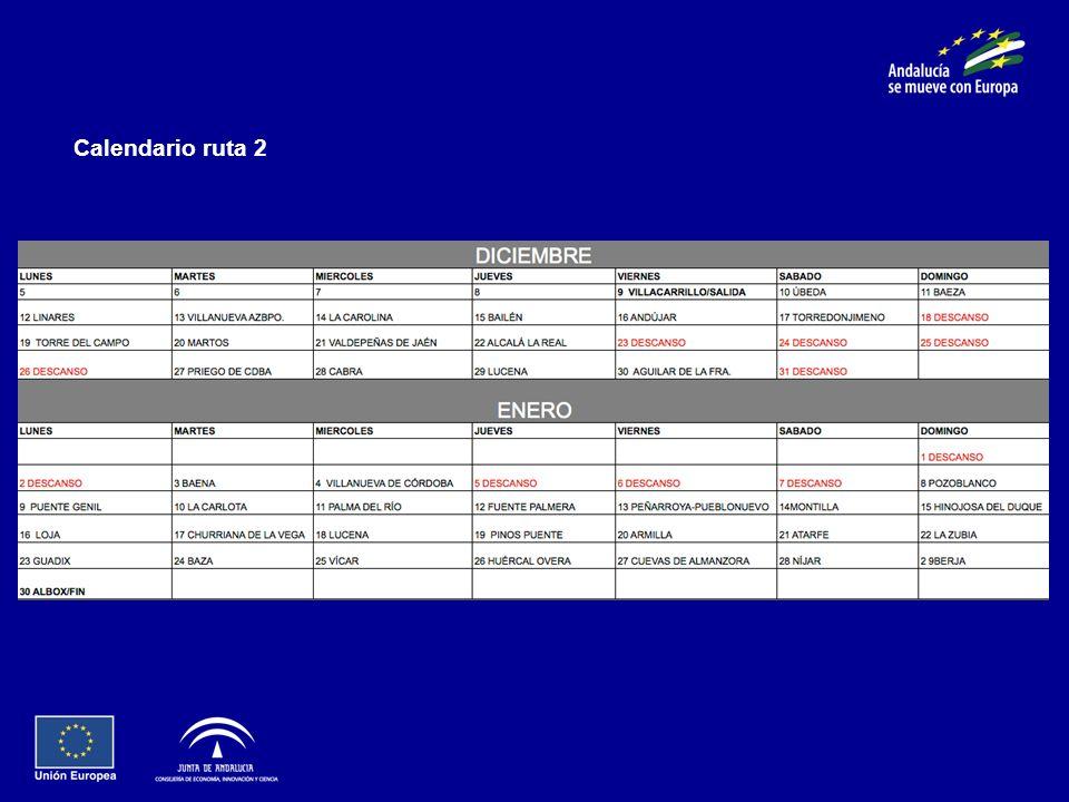 Calendario ruta 2