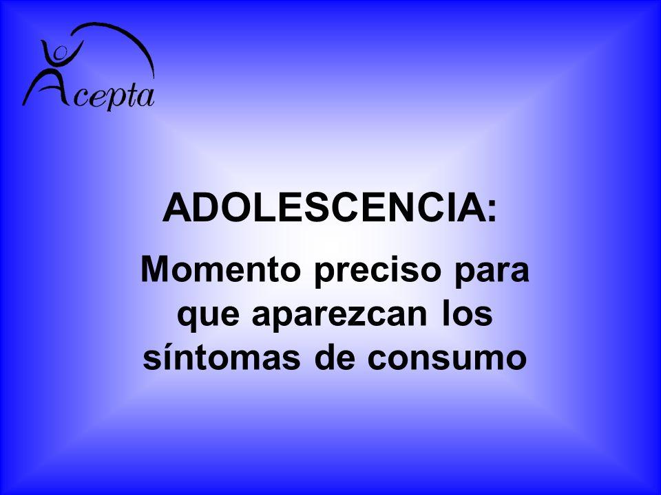 ADOLESCENCIA: Momento preciso para que aparezcan los síntomas de consumo