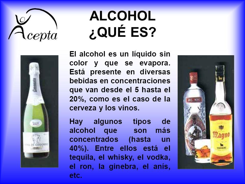 ALCOHOL ¿QUÉ ES? El alcohol es un líquido sin color y que se evapora. Está presente en diversas bebidas en concentraciones que van desde el 5 hasta el