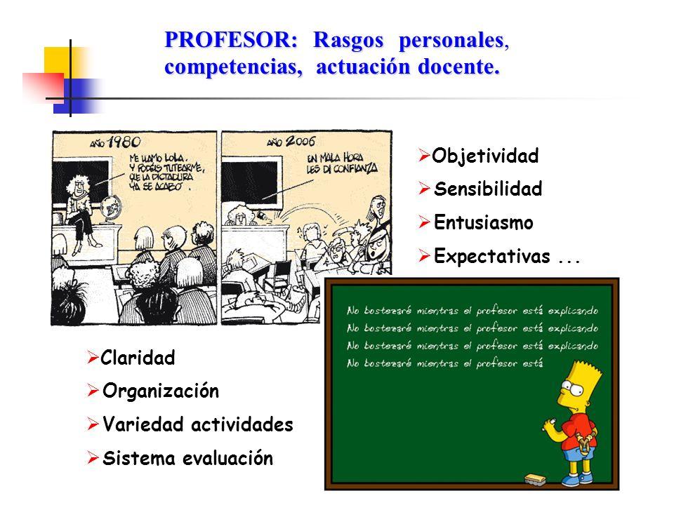 PROFESOR: Rasgos personales competencias, actuación docente. PROFESOR: Rasgos personales, competencias, actuación docente. Objetividad Sensibilidad En