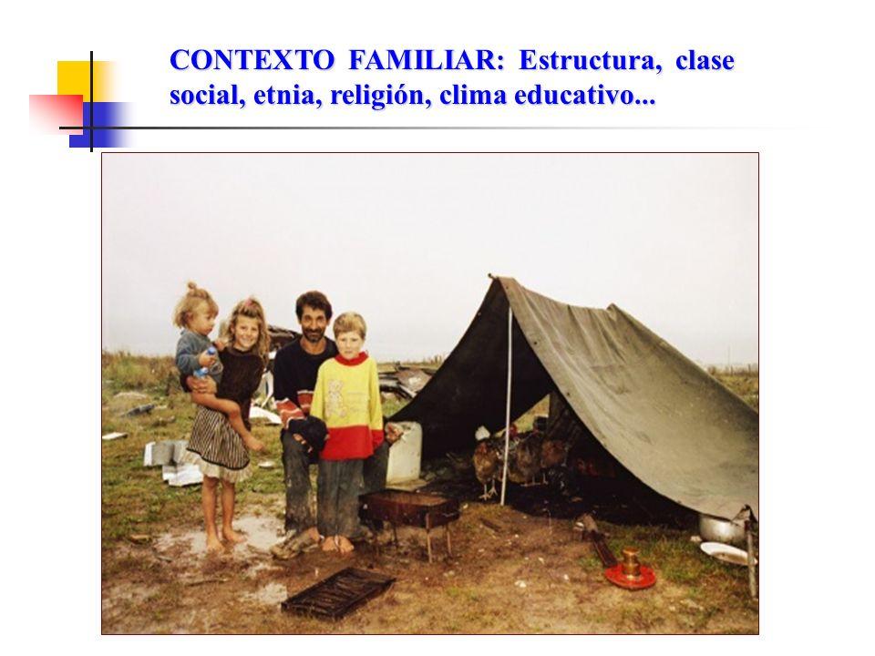 CONTEXTO FAMILIAR: Estructura, clase social, etnia, religión, clima educativo...