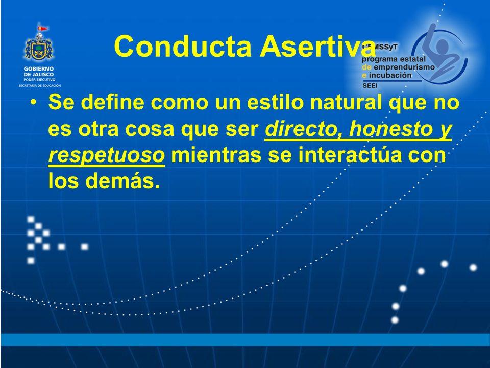 Conducta Asertiva Se define como un estilo natural que no es otra cosa que ser directo, honesto y respetuoso mientras se interactúa con los demás.