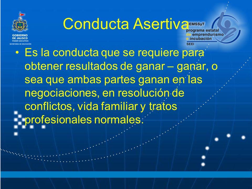 Conducta Asertiva Es la conducta que se requiere para obtener resultados de ganar – ganar, o sea que ambas partes ganan en las negociaciones, en resolución de conflictos, vida familiar y tratos profesionales normales.