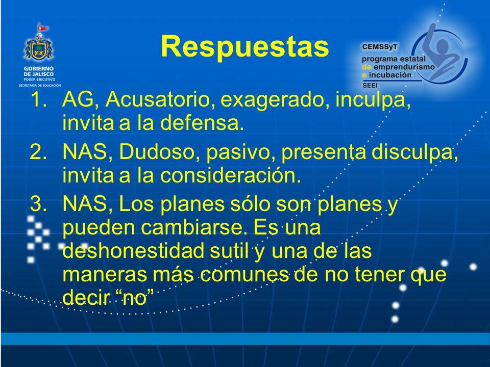 Respuestas 1.AG, Acusatorio, exagerado, inculpa, invita a la defensa.