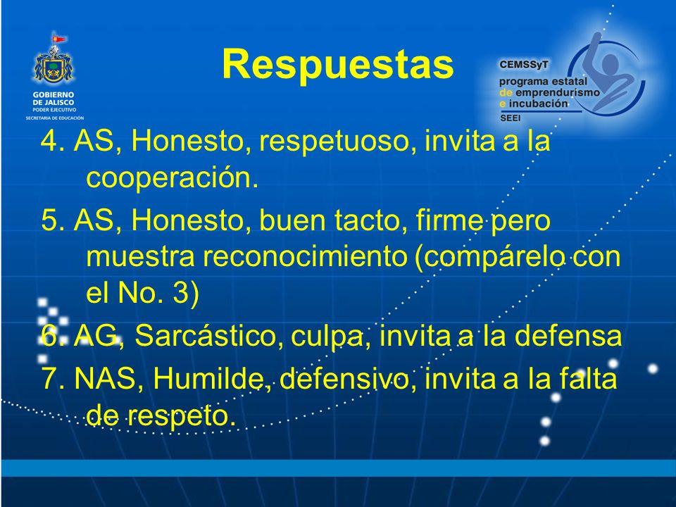 Respuestas 4.AS, Honesto, respetuoso, invita a la cooperación.