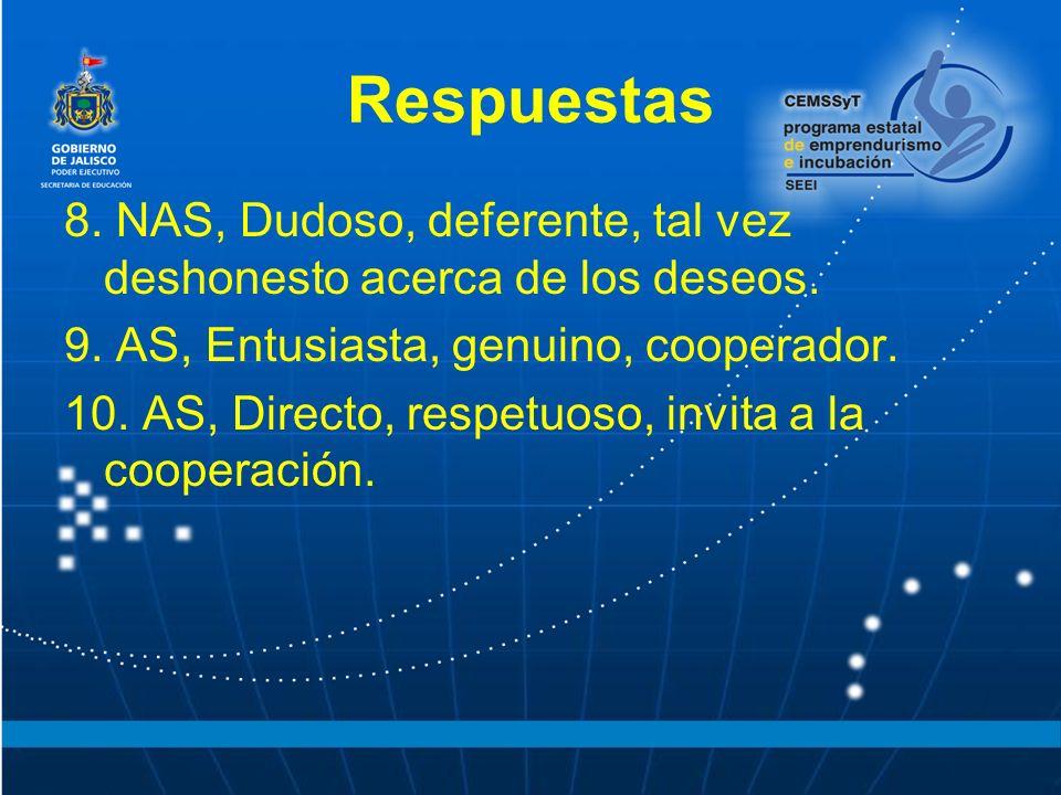 Respuestas 8.NAS, Dudoso, deferente, tal vez deshonesto acerca de los deseos.