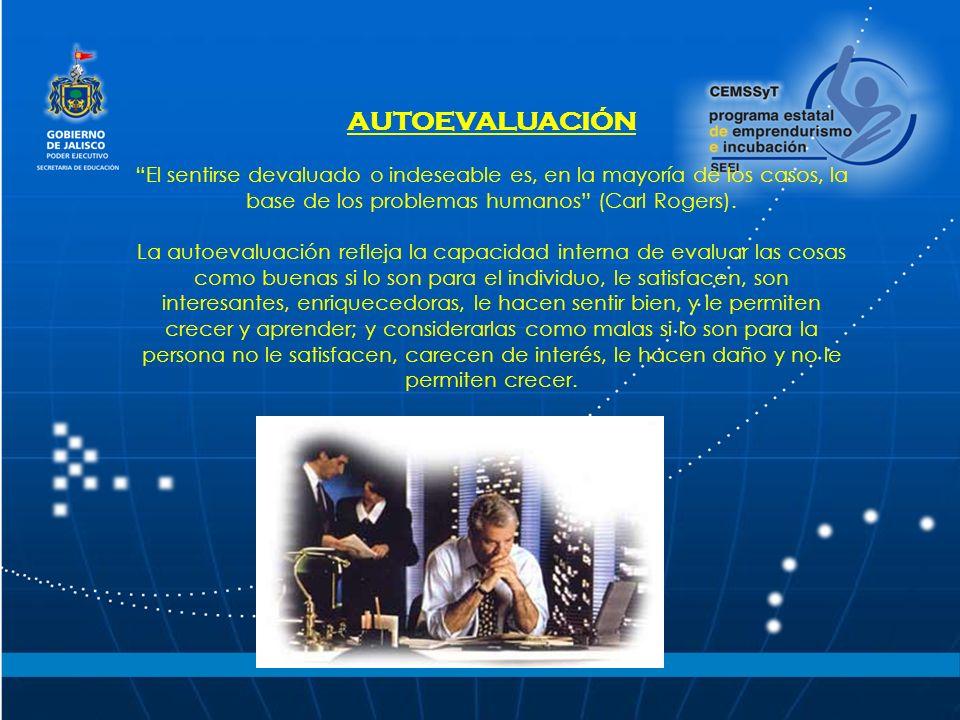 AUTOEVALUACIÓN El sentirse devaluado o indeseable es, en la mayoría de los casos, la base de los problemas humanos (Carl Rogers).