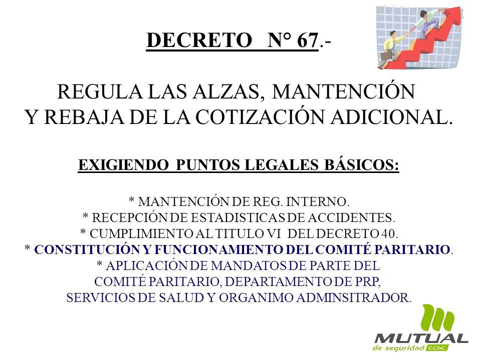 DECRETO N° 67.- REGULA LAS ALZAS, MANTENCIÓN Y REBAJA DE LA COTIZACIÓN ADICIONAL. EXIGIENDO PUNTOS LEGALES BÁSICOS: * MANTENCIÓN DE REG. INTERNO. * RE
