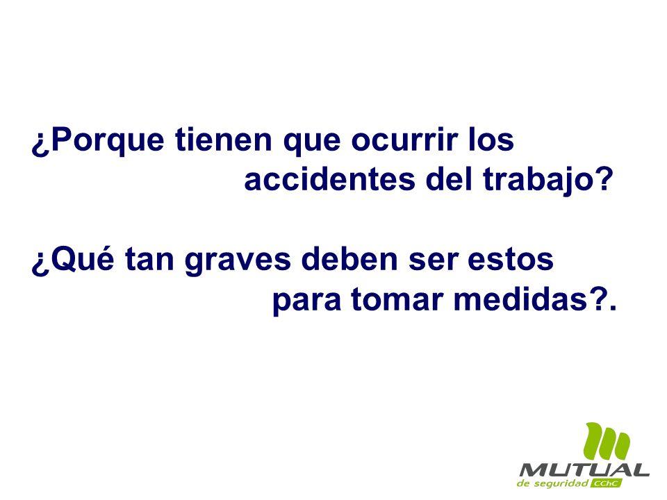 ¿Porque tienen que ocurrir los accidentes del trabajo? ¿Qué tan graves deben ser estos para tomar medidas?.