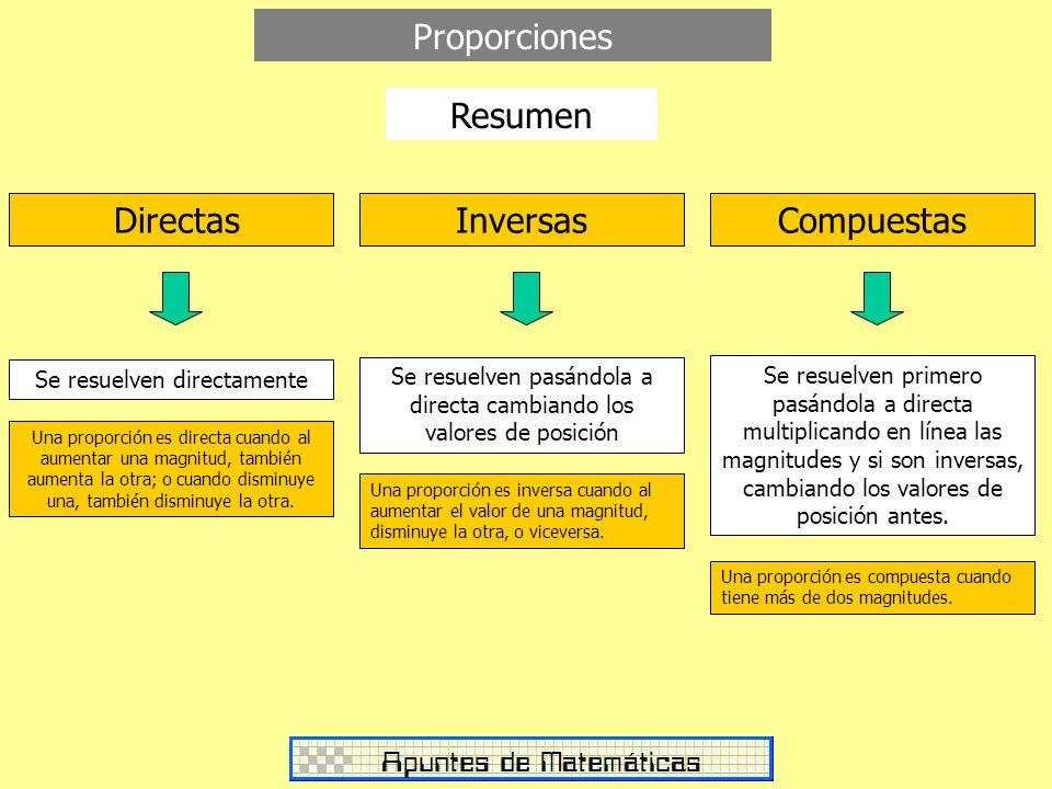 InversasCompuestas Directas Proporciones Se resuelven directamente Se resuelven pasándola a directa cambiando los valores de posición Se resuelven pri