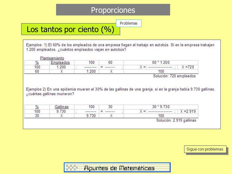 Proporciones Los tantos por ciento (%) Problemas Sigue con problemas