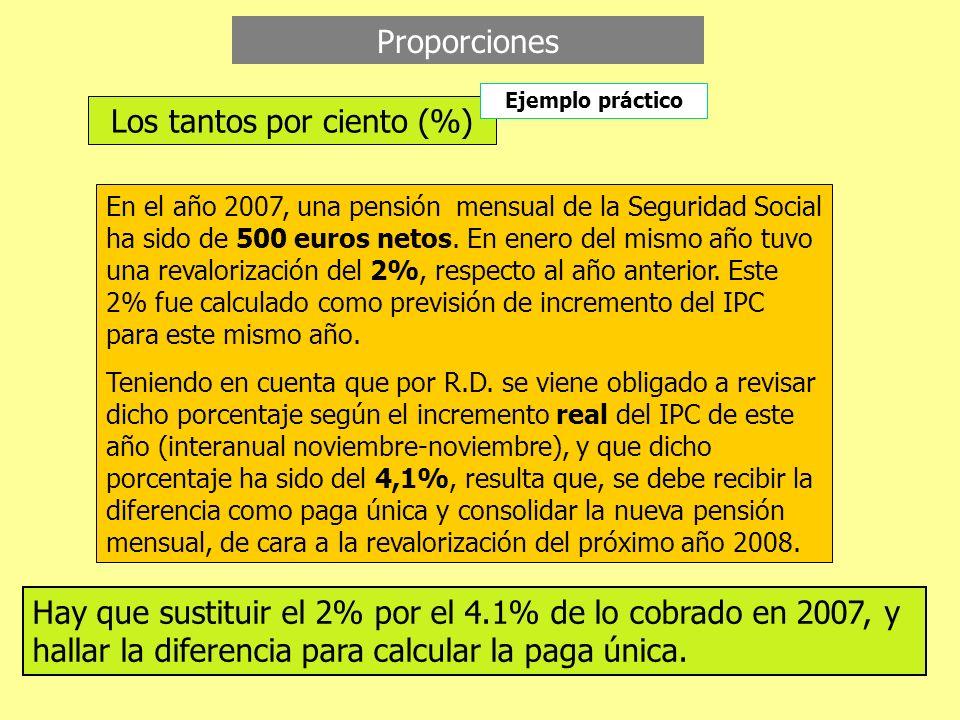 Proporciones Los tantos por ciento (%) Ejemplo práctico En el año 2007, una pensión mensual de la Seguridad Social ha sido de 500 euros netos. En ener