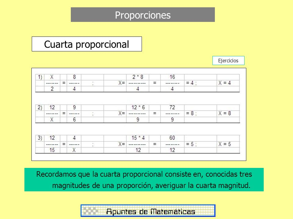 Proporciones Cuarta proporcional Ejercicios Recordamos que la cuarta proporcional consiste en, conocidas tres magnitudes de una proporción, averiguar