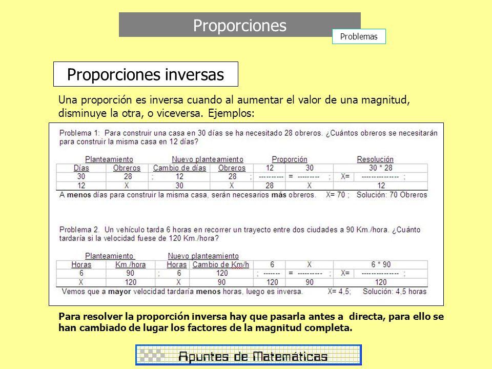 Proporciones Proporciones inversas Una proporción es inversa cuando al aumentar el valor de una magnitud, disminuye la otra, o viceversa. Ejemplos: Pa