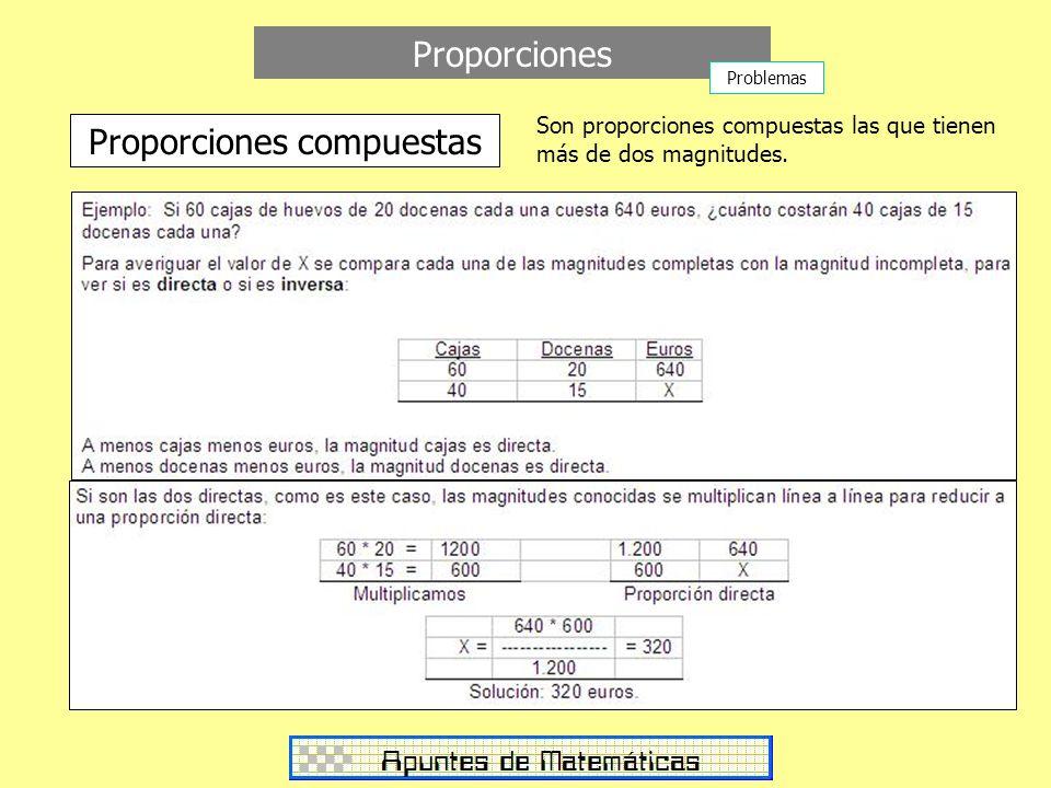 Proporciones Proporciones compuestas Son proporciones compuestas las que tienen más de dos magnitudes. Problemas
