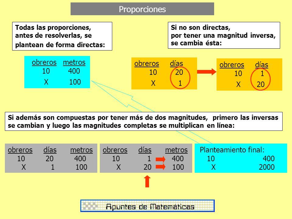 Proporciones Todas las proporciones, antes de resolverlas, se plantean de forma directas: obreros metros 10 400 X 100 obreros días 10 20 X 1 Si no son