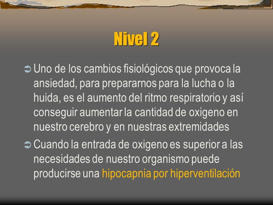 Topografía del ataque Cinco niveles: Nivel 0, total normalidad Nivel 1, inquietud, ligera ansiedad Nivel 2, cambio en el ritmo respiratorio, síntomas