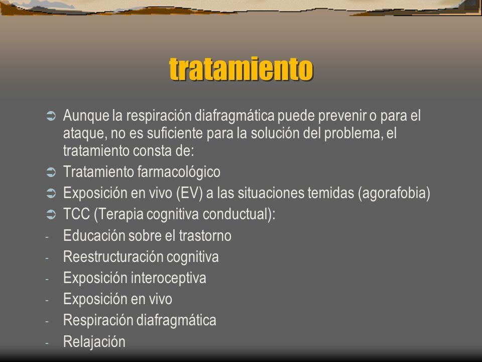 tratamiento Aunque la respiración diafragmática puede prevenir o para el ataque, no es suficiente para la solución del problema, el tratamiento consta de: Tratamiento farmacológico Exposición en vivo (EV) a las situaciones temidas (agorafobia) TCC (Terapia cognitiva conductual): - Educación sobre el trastorno - Reestructuración cognitiva - Exposición interoceptiva - Exposición en vivo - Respiración diafragmática - Relajación