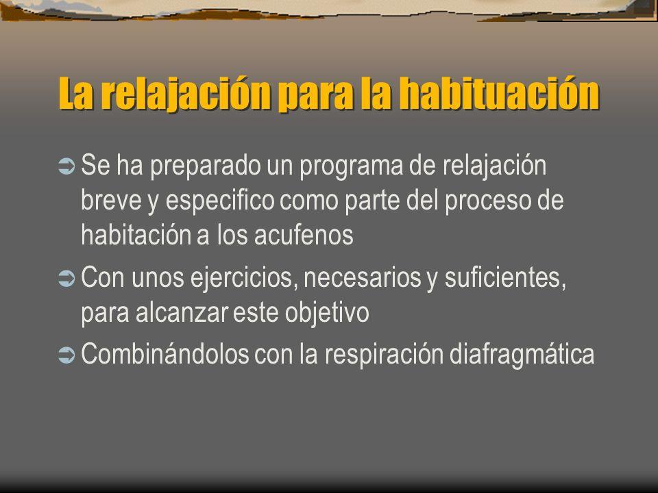 La relajación para la habituación Se ha preparado un programa de relajación breve y especifico como parte del proceso de habitación a los acufenos Con unos ejercicios, necesarios y suficientes, para alcanzar este objetivo Combinándolos con la respiración diafragmática
