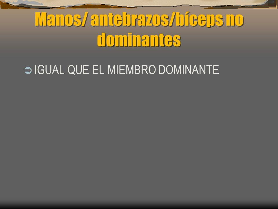 Manos/ antebrazos/bíceps no dominantes IGUAL QUE EL MIEMBRO DOMINANTE
