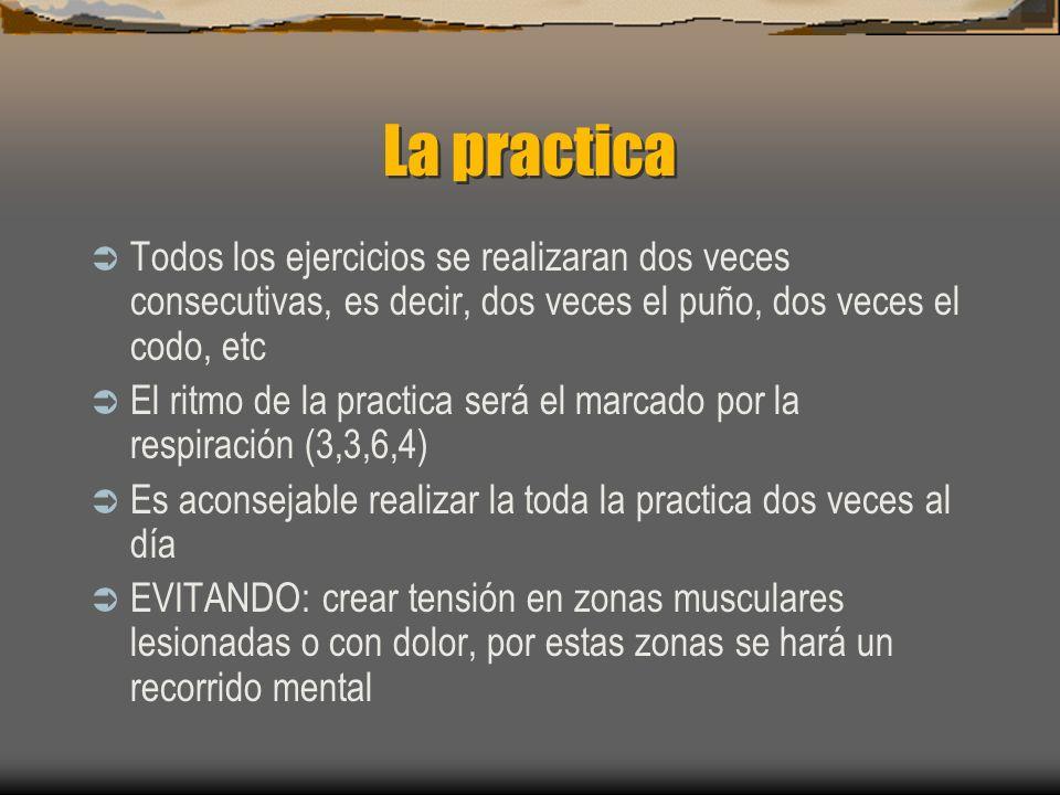 La practica Todos los ejercicios se realizaran dos veces consecutivas, es decir, dos veces el puño, dos veces el codo, etc El ritmo de la practica será el marcado por la respiración (3,3,6,4) Es aconsejable realizar la toda la practica dos veces al día EVITANDO: crear tensión en zonas musculares lesionadas o con dolor, por estas zonas se hará un recorrido mental