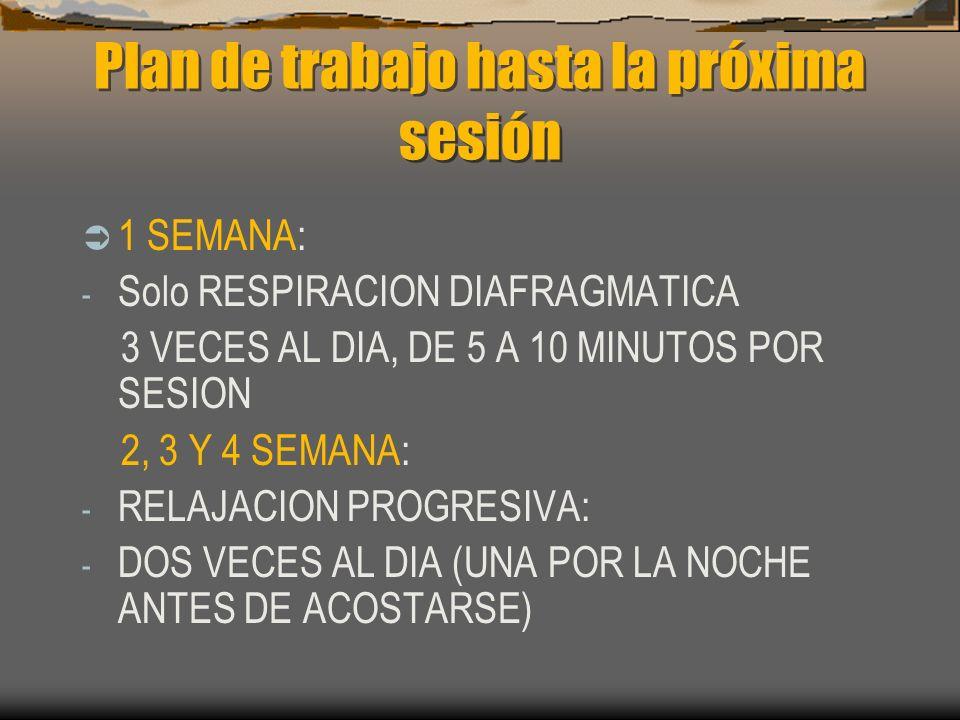 Plan de trabajo hasta la próxima sesión 1 SEMANA: - Solo RESPIRACION DIAFRAGMATICA 3 VECES AL DIA, DE 5 A 10 MINUTOS POR SESION 2, 3 Y 4 SEMANA: - RELAJACION PROGRESIVA: - DOS VECES AL DIA (UNA POR LA NOCHE ANTES DE ACOSTARSE)
