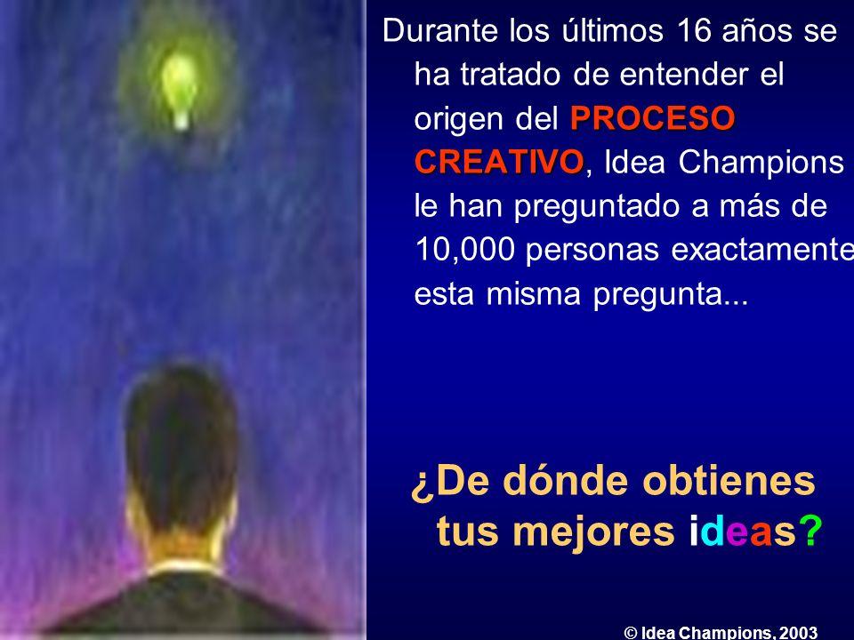 PROCESO CREATIVO Durante los últimos 16 años se ha tratado de entender el origen del PROCESO CREATIVO, Idea Champions le han preguntado a más de 10,00