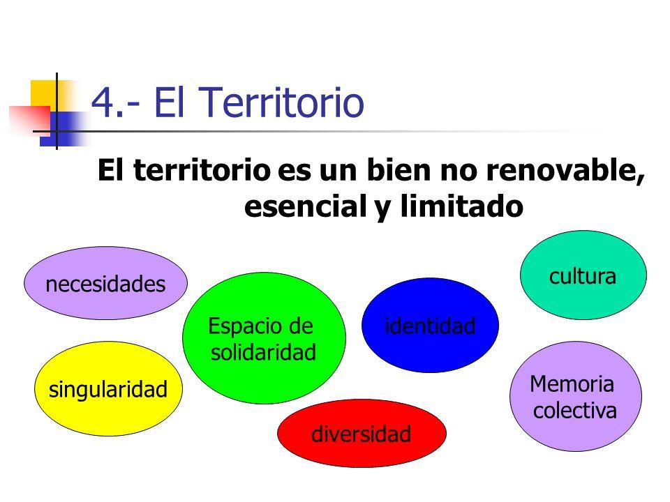 4.- El Territorio El territorio es un bien no renovable, esencial y limitado necesidades identidad cultura singularidad diversidad Memoria colectiva Espacio de solidaridad
