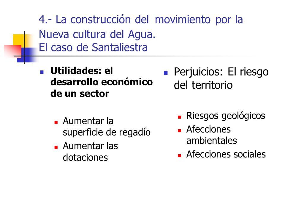 4.- La construcción del movimiento por la Nueva cultura del Agua. El caso de Santaliestra Utilidades: el desarrollo económico de un sector Aumentar la