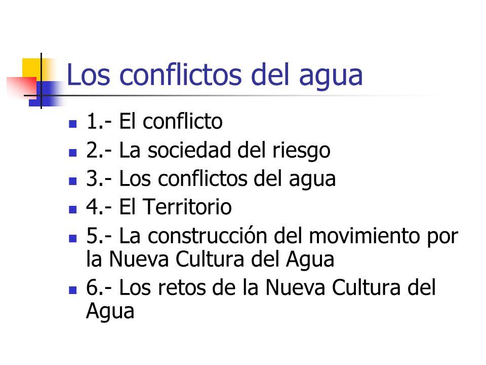 Los conflictos del agua 1.- El conflicto 2.- La sociedad del riesgo 3.- Los conflictos del agua 4.- El Territorio 5.- La construcción del movimiento por la Nueva Cultura del Agua 6.- Los retos de la Nueva Cultura del Agua