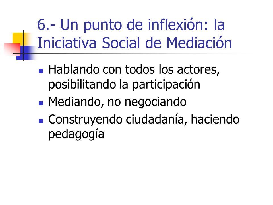 6.- Un punto de inflexión: la Iniciativa Social de Mediación Hablando con todos los actores, posibilitando la participación Mediando, no negociando Construyendo ciudadanía, haciendo pedagogía