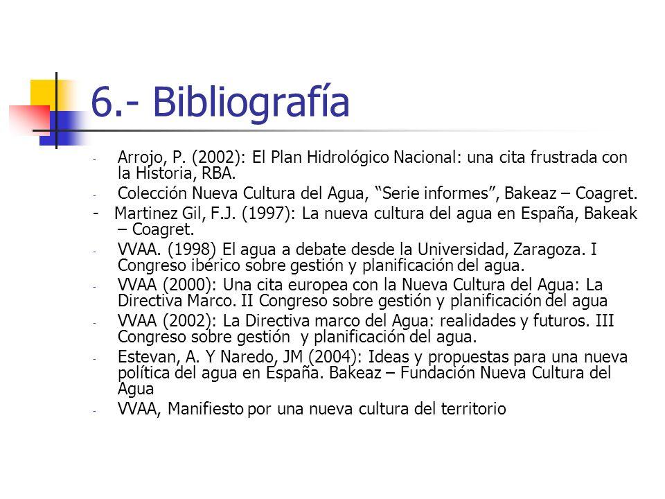 6.- Bibliografía - Arrojo, P. (2002): El Plan Hidrológico Nacional: una cita frustrada con la Historia, RBA. - Colección Nueva Cultura del Agua, Serie