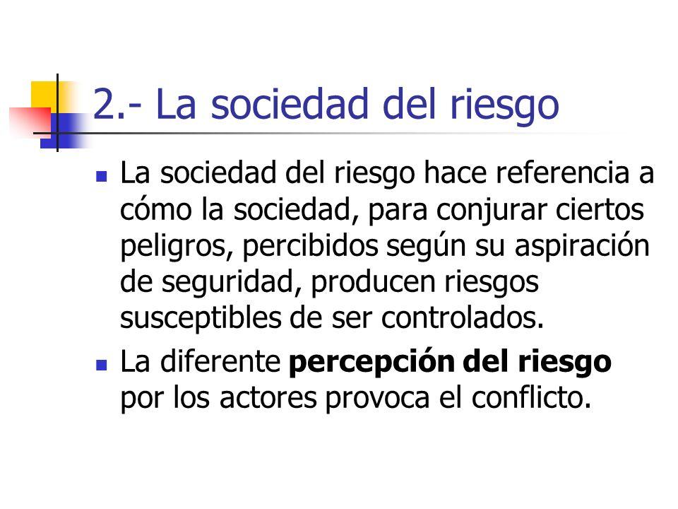 2.- La sociedad del riesgo La sociedad del riesgo hace referencia a cómo la sociedad, para conjurar ciertos peligros, percibidos según su aspiración d