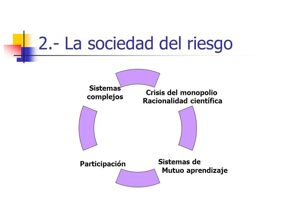 2.- La sociedad del riesgo Participación Sistemas complejos Sistemas de Mutuo aprendizaje Crisis del monopolio Racionalidad científica