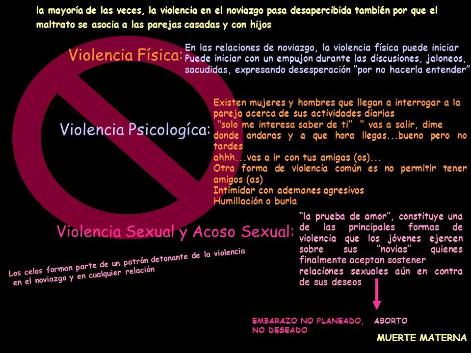 Violencia Física: Violencia Sexual y Acoso Sexual: Violencia Psicologíca: En las relaciones de noviazgo, la violencia física puede iniciar Puede inici