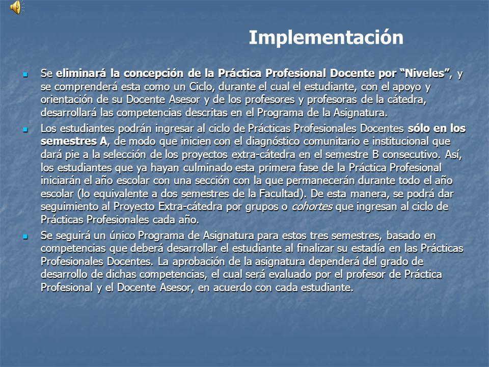 Implementación Se eliminará la concepción de la Práctica Profesional Docente por Niveles, y se comprenderá esta como un Ciclo, durante el cual el estu