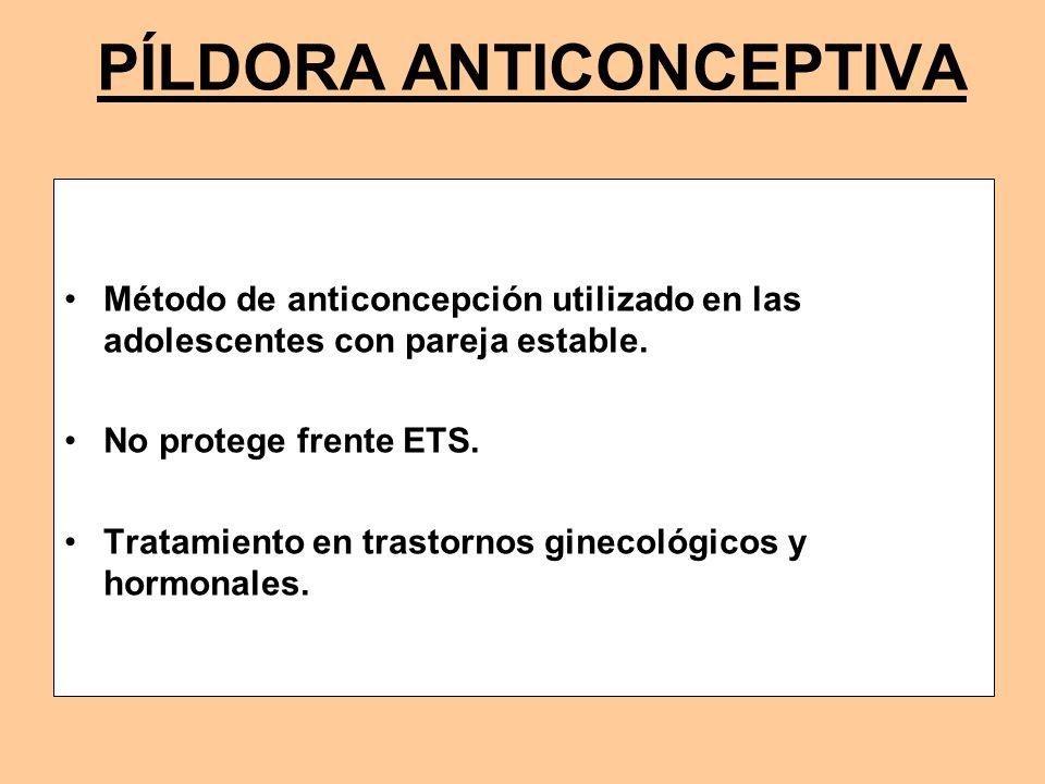 PÍLDORA ANTICONCEPTIVA Método de anticoncepción utilizado en las adolescentes con pareja estable. No protege frente ETS. Tratamiento en trastornos gin