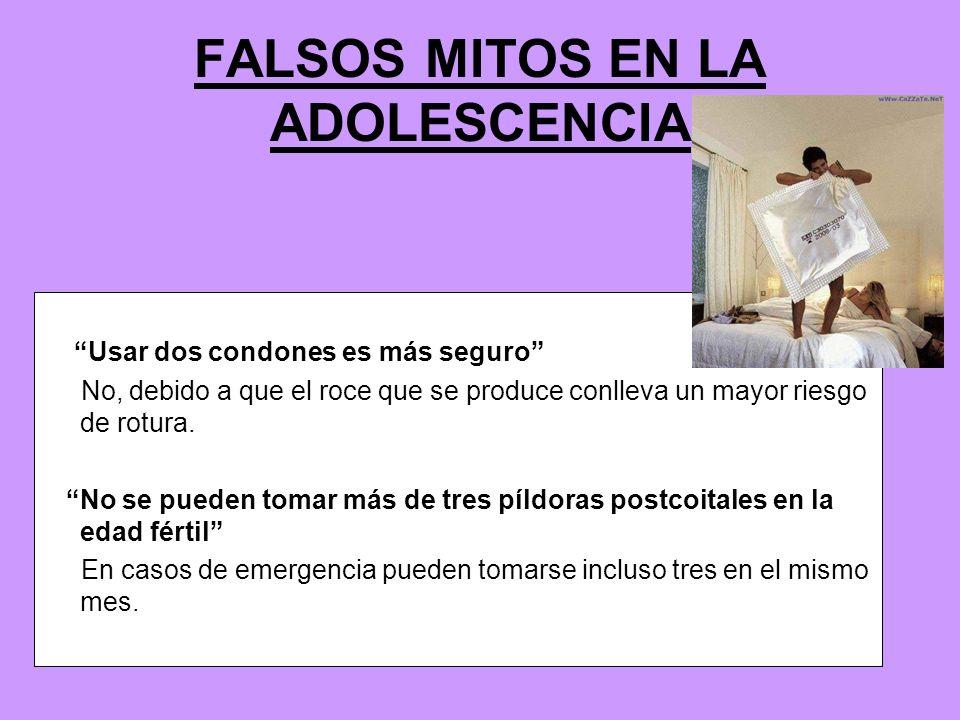 FALSOS MITOS EN LA ADOLESCENCIA Usar dos condones es más seguro No, debido a que el roce que se produce conlleva un mayor riesgo de rotura. No se pued