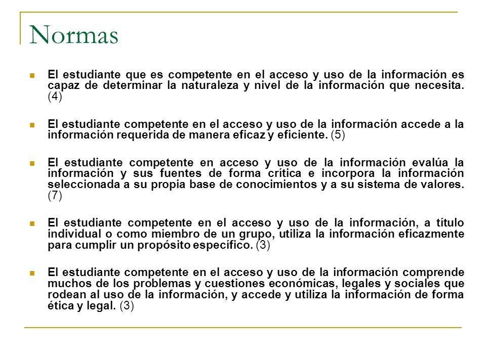 Normas El estudiante que es competente en el acceso y uso de la información es capaz de determinar la naturaleza y nivel de la información que necesit