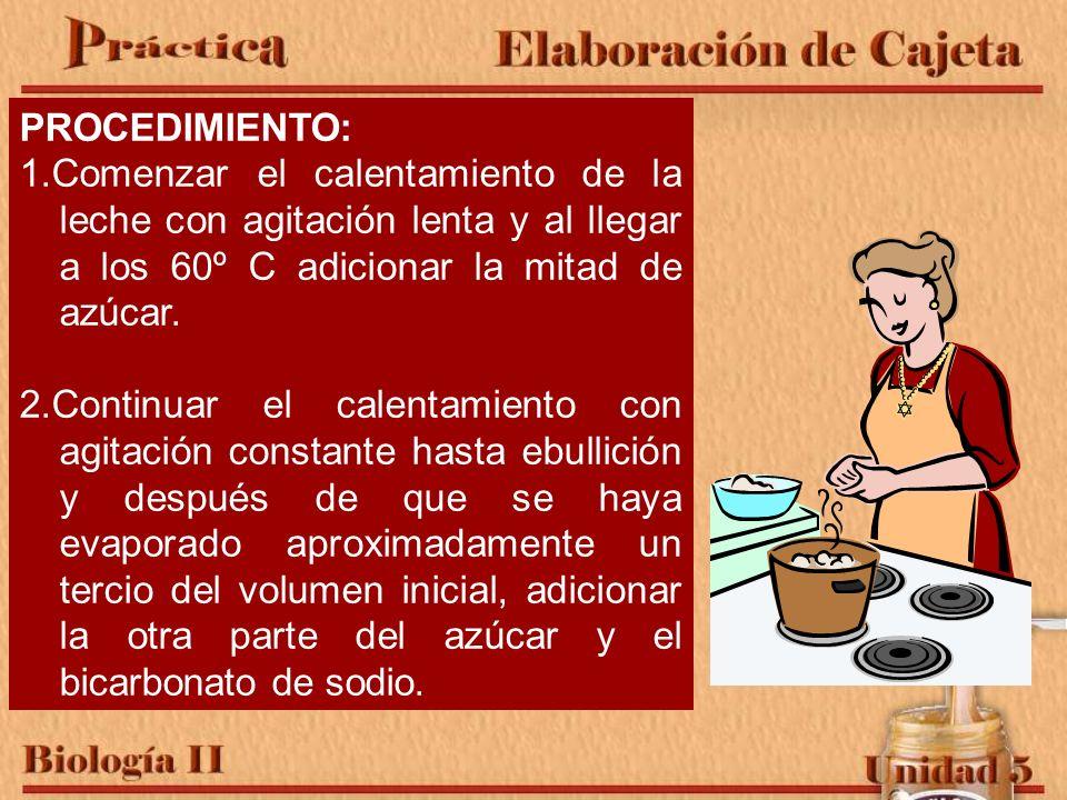 PROCEDIMIENTO: 1.Comenzar el calentamiento de la leche con agitación lenta y al llegar a los 60º C adicionar la mitad de azúcar. 2.Continuar el calent