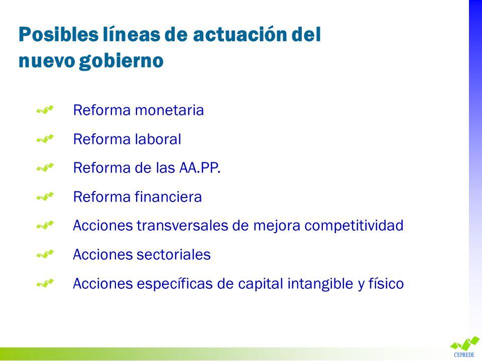 Posibles líneas de actuación del nuevo gobierno Reforma monetaria Reforma laboral Reforma de las AA.PP. Reforma financiera Acciones transversales de m