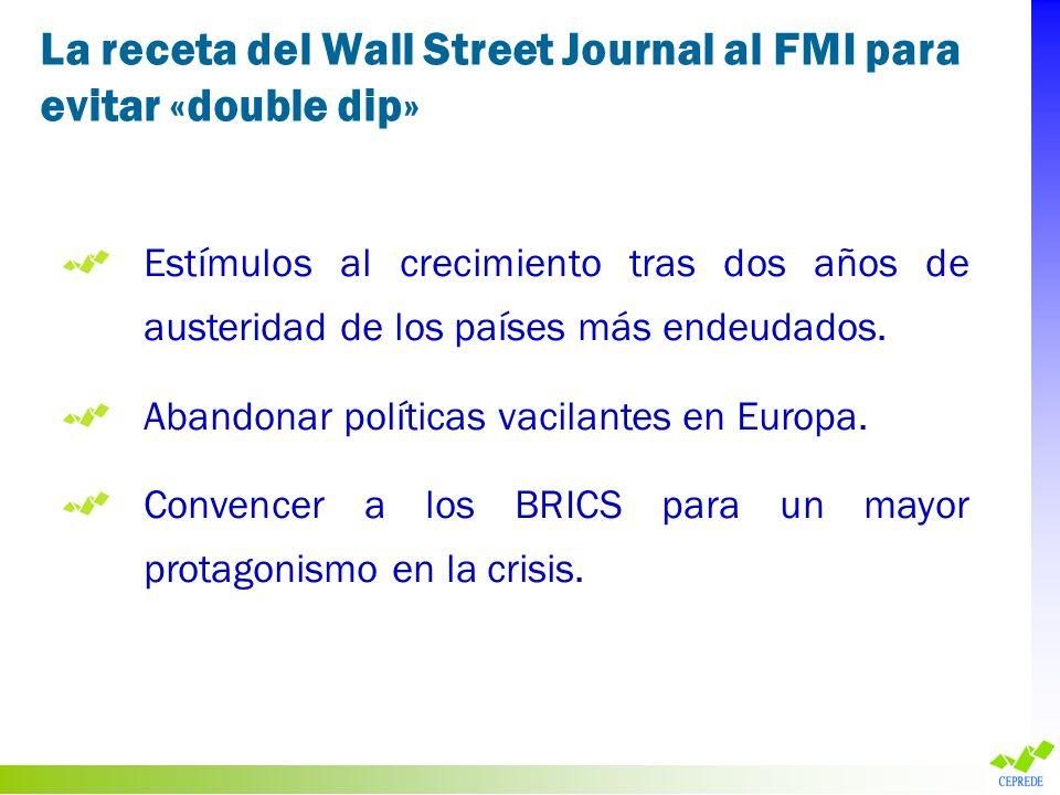 La receta del Wall Street Journal al FMI para evitar «double dip» Estímulos al crecimiento tras dos años de austeridad de los países más endeudados. A