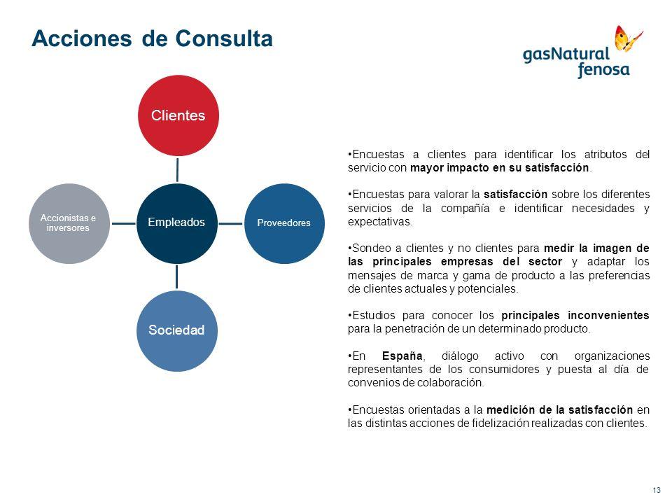 13 Acciones de Consulta Empleados Clientes Proveedores Sociedad Accionistas e inversores Encuestas a clientes para identificar los atributos del servi