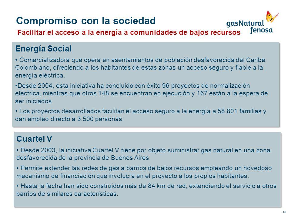 18 Compromiso con la sociedad Facilitar el acceso a la energía a comunidades de bajos recursos Energía Social Comercializadora que opera en asentamien