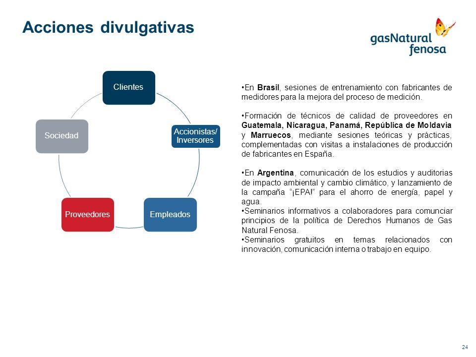 24 Acciones divulgativas Clientes Accionistas/ Inversores EmpleadosProveedoresSociedad En Brasil, sesiones de entrenamiento con fabricantes de medidor