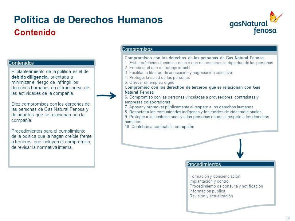 25 Política de Derechos Humanos Contenido El planteamiento de la política es el de debida diligencia, orientada a minimizar el riesgo de infringir los